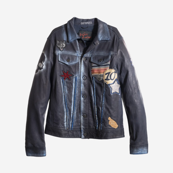 Unisex Jacket In Real Leather With Handpaint