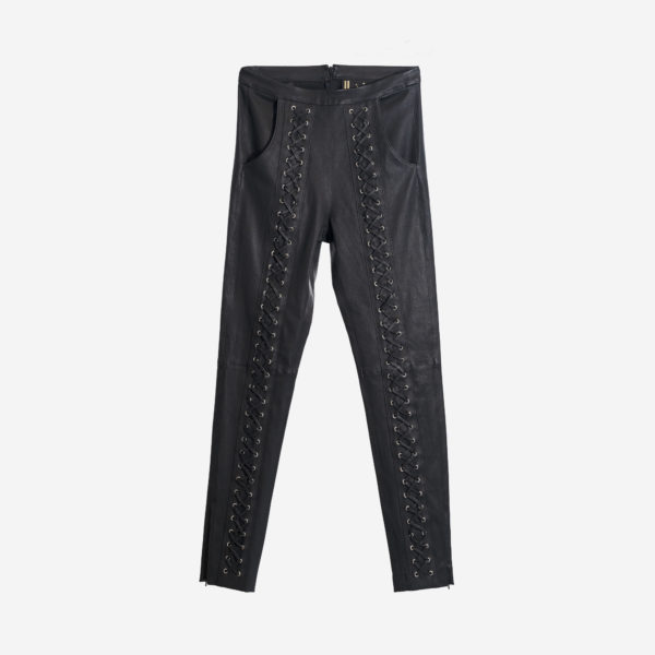 Ladies Pants In Real Leather With Interlaced Motif, Long sleeves, Back Zipper Closure