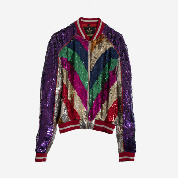 Ladies Bomber With Multi-Color Paillettes